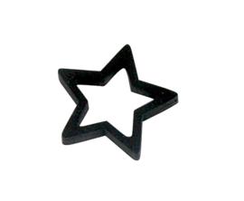 Cadeaulabel | Houten ster zwart - 4 stuks