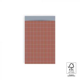 Cadeauzakjes   Grid warm red 12x19 CM - 5 stuks