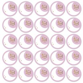 Sticker op rol | Van Sint roze - goudfoil | 500 st.