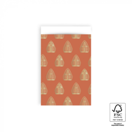 Cadeauzakjes | Sint mijter goudfolie 12x19 CM - 5 stuks