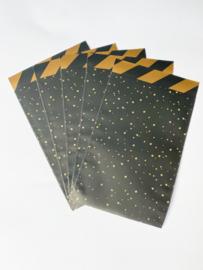 Cadeauzakjes | Sweet confetti zwart/goud 12x19 CM - 5 stuks