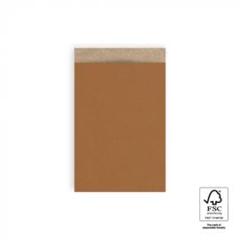 Cadeauzakjes   Craft warm cognac 12x19 CM - 5 stuks