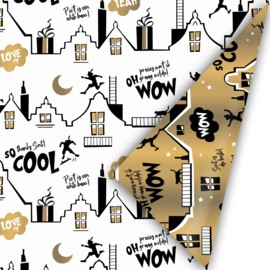 Inpakpapier | Cool Sint zwart/goud - 3M