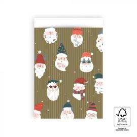 Cadeauzakjes   Kerstman 17x25 CM - 5 stuks