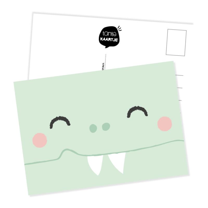 Ansichtkaart   Snoetje krokodil