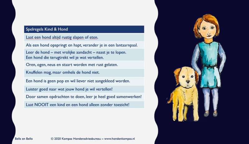 Postkaart Spelregels Kind & Hond Bella en Bello