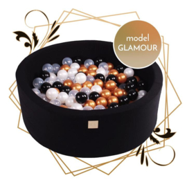 Zwarte ballenbak met 250 ballen - Glamour set