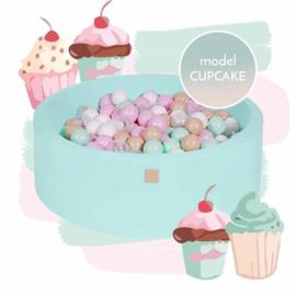 Mint groene ballenbak met 250 ballen - Cupcake set