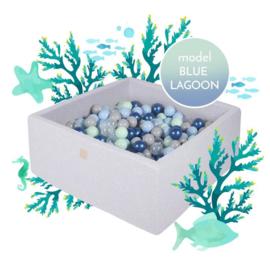 Grijze ballenbak met 300 ballen - Blue Lagoon set
