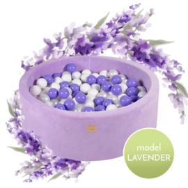Paarse ballenbak Velvet met 250 ballen - Lavendel set