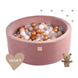 Velvet Bruine ballenbak met 250 ballen - Teddy Bear set