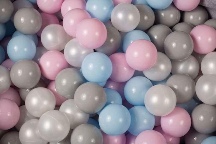 Ballenbak ballen set - Grijs, Pastel Rose, Wit 100 stuks