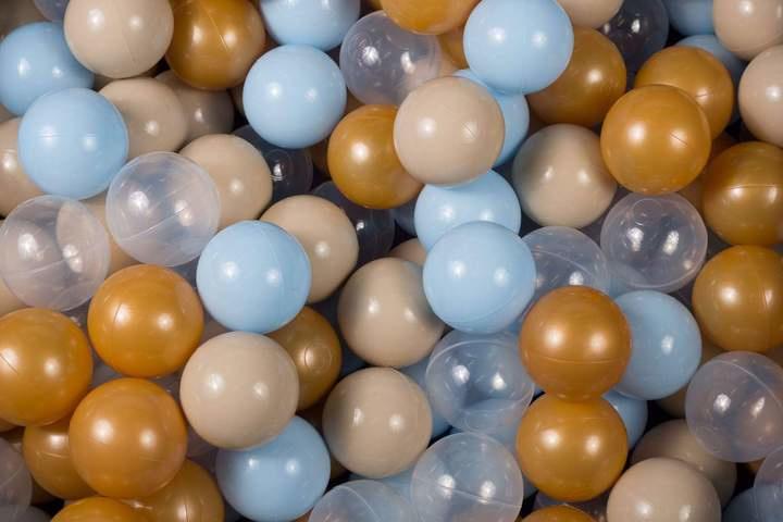 Ballenbak ballen set - Goud, Baby Blauw, Beige, Transparant 100 stuks
