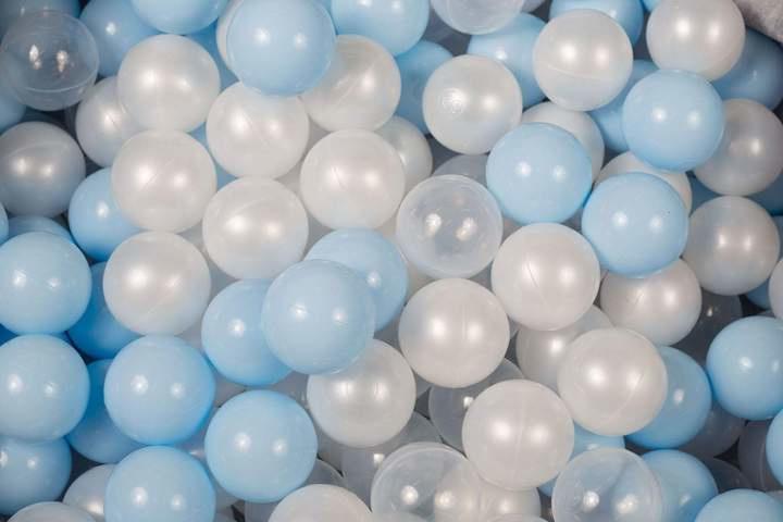 Ballenbak ballen set - Wit Pearl, Baby Blauw, Transparant 100 stuks