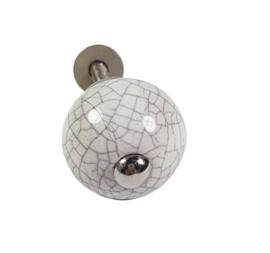 porseleinen knop rond craquelé/W25