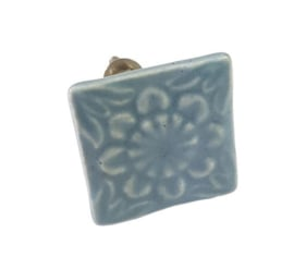 porseleinen knop vierkant grijs