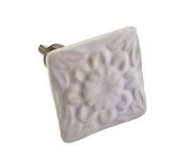 porseleinen knop vierkant wit