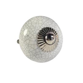porseleinen knop rond craquelé/w40