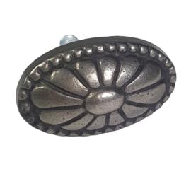 metalen knop ovaal antiek zwart