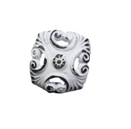 metalen knop vierkant wit