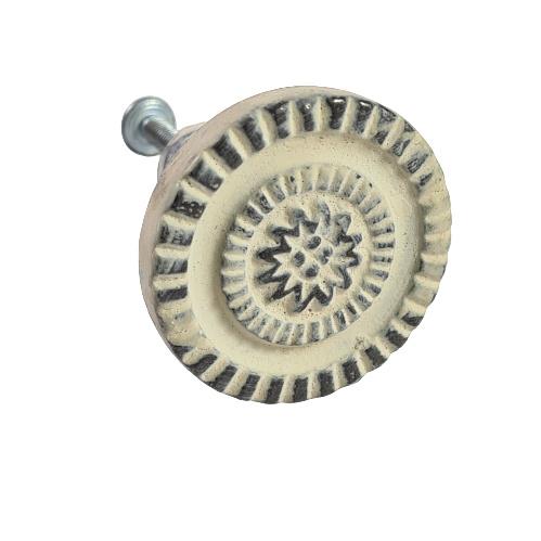 deurknop metaal rond antiek wit/crème