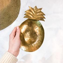 Ananas wandbordje 'goudkleurig'