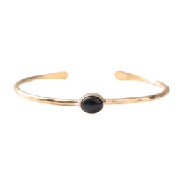 BS - Moonlight Black Onyx Gold Plated Bracelet (AW24329)