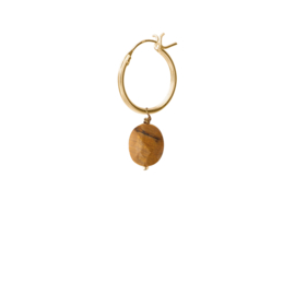 BS - Tiger Eye Silver Gold Plated Hoop Earring (ES1054)