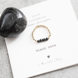 BS - Beauty Black Onyx Gold Plated Ring S/M (BL22475)