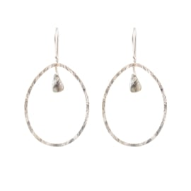 BS - Ellipse Labadorite Silver Plated Earrings (AW24790)
