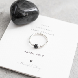 BS - Sparkle Black Onyx Silver Plated Ring S/M (BL22876)