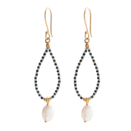 BS - Magical Moon Stone Gold Plated Earrings (BL24288)