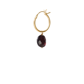 BS - Garnet Silver Gold Plated Hoop Earring (ES1048)
