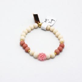 MB - Armbandje Roos roze-wit 6-12j