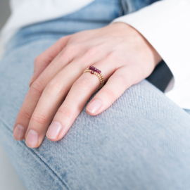 BS - Sparkle Garnet Gold Plated Ring S/M (BL22976)