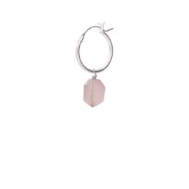 BS - Rose Quartz Silver Hoop Earring (ES1035)