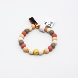 MB - Armbandje Bloem goud beige-roze 0-6j
