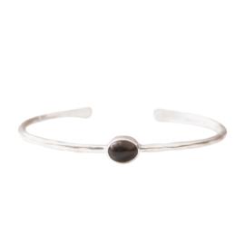 BS - Moonlight Smokey Quartz Silver Plated Bracelet (AW25229)