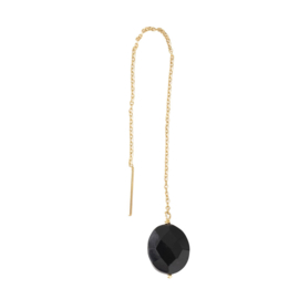 BS - Elegant Black Onyx Silver Gold Plated Earring (AW24306)