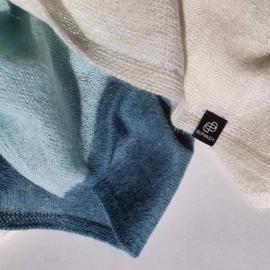 BU - Knitted Block Stripe Baby Alpaca Shawl Daydream Blue (660018)