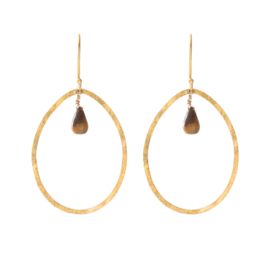 BS - Ellipse Tiger Eye Gold Plated Earrings (AW24490)