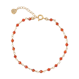 BS - Harmony Carnelian Silver Gold Plated Bracelet (AW23499)