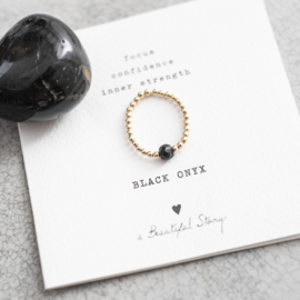 BS - Sparkle Black Onyx Gold Plated Ring M/L (BL24337)