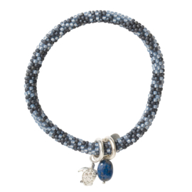 BS - Jacky Multi Color Lapis Lazuli Turtle Silver Plated Bracelet (BL25506)