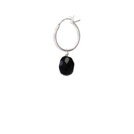 BS - Black Onyx Silver Hoop Earring (ES1029)