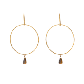 BS - Embrace Tiger Eye Gold Plated Earrings (AW24491)