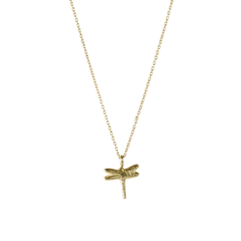 BS - Delicate Dragonfly Silver Gold Plated Necklace (AW22642)