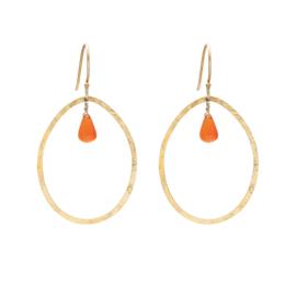 BS - Ellipse Carnelian Gold Plated Earrings (AW24626)