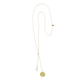 BS - Fairy Aventurine Leaf Gold Plated Necklace (BL23258)
