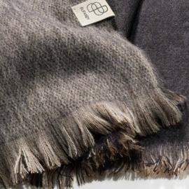 BU - Brushed Doble Alpaca Shawl Black & Sandstone (990002)